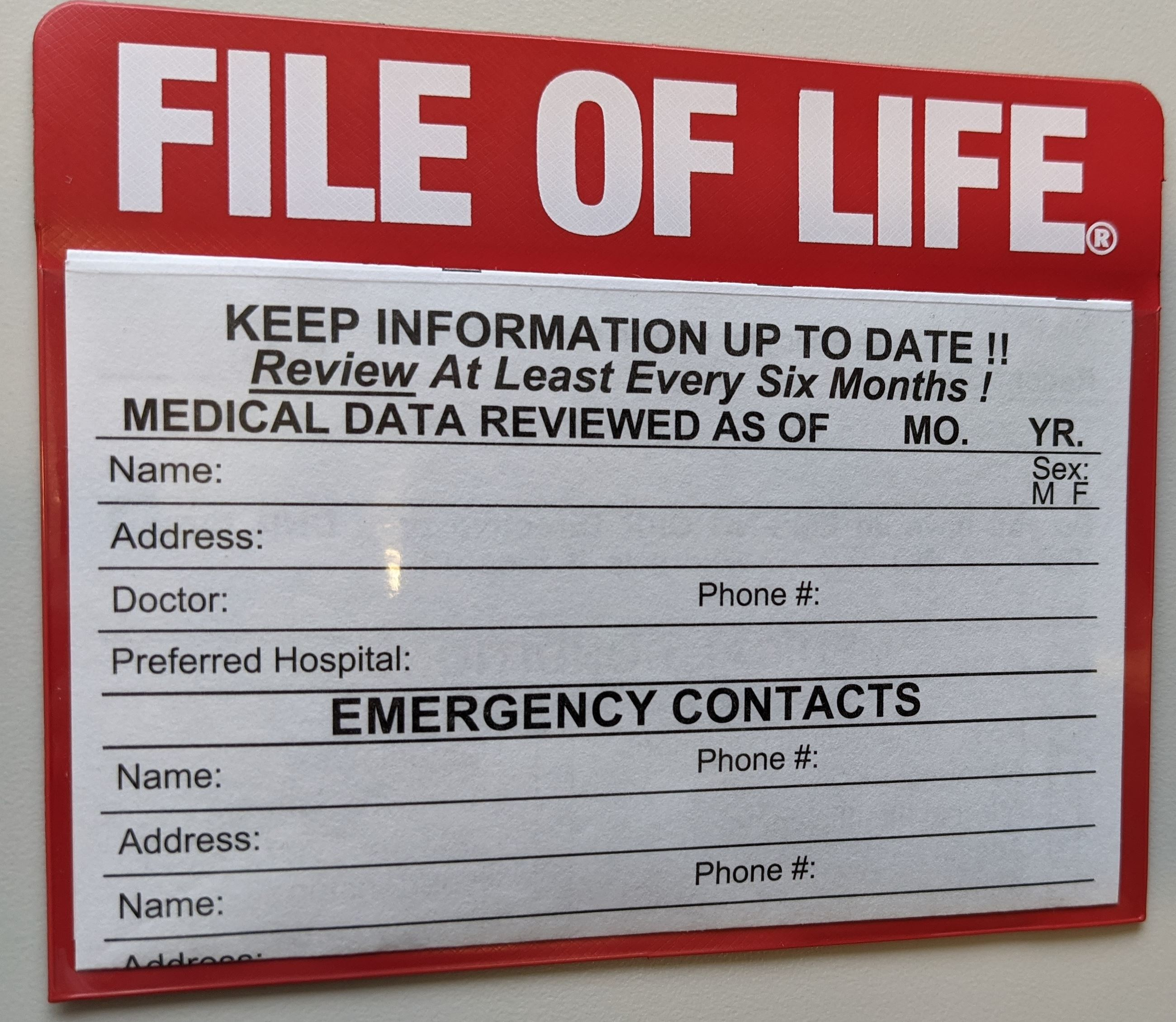 File of Life magnet with insert