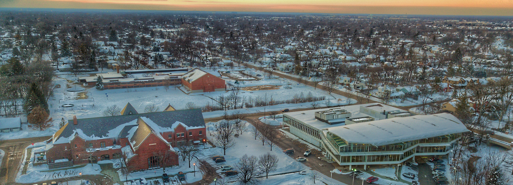 Drone Shot of Village Hall in Winter Looking West