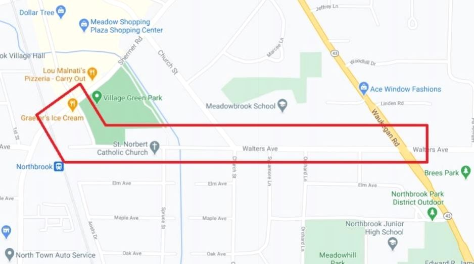 Map of NICOR Gas Main Upgrades on Shermer, Meadow, and Walters